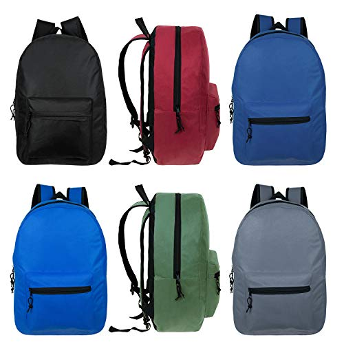 19 Inch Wholesale Basic Backpacks in 6 Assorted Colors - Bulk Case of 24 Bookbags