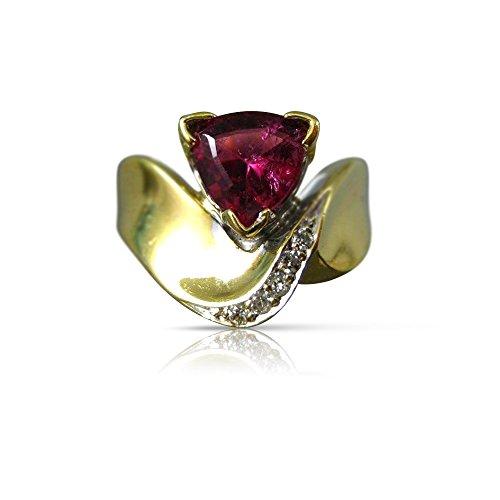 - Milano Jewelers WIDE 1.50CT DIAMOND & AAA PINK TOURMALINE 18KT TWO TONE GOLD RING #22057