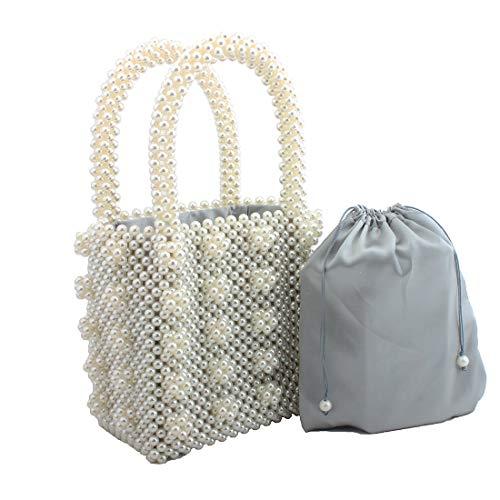 Womens Beaded Handbags Handmade Weavel Pearl Tote Bags fit Wedding Party Beautiful Luxury Purses (WHITE)