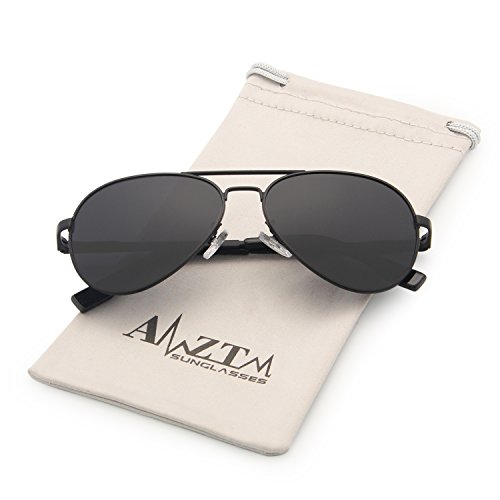 AMZTM Classic Aviator Sunglasses for Kids Metal Frame HD Polarized Lens Outdoor Children Sports Shades 100% UV400 Protection Cool Boy/Girl Must-Have Parent-child Models (Black Frame Grey Lens, - Aviator Sunglasses Model