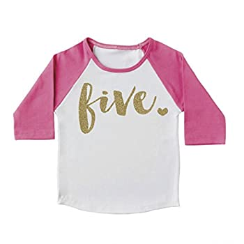 Girl Fifth Birthday Outfit, Fifth Birthday Shirt, Five Year Old Outfit (4T)