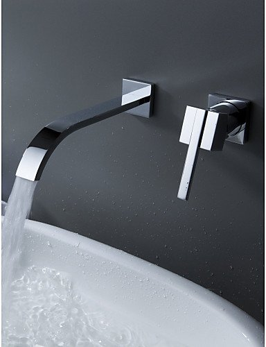 Muirfield Single Handle (Wall Mount Contemporary Brass Widespread Waterfall Bathroom Sink Faucet Single Handle Bathtub Mixer Taps)