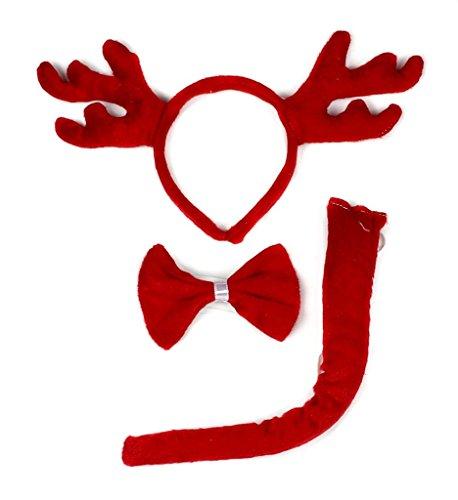 (Petitebella 3D Headband Bowtie Tail Unisex Children 3pc Costume (3D Christmas Red Reindeer)