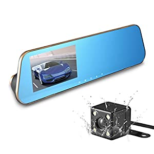 "Car Dash Camera 4.3"" Full HD 1080P Dual Lens 170°Wide Angle Front and Rear Mirror Mount DVR with G-Sensor, Loop Recording,Night Vision (No Micro SD Card)(Gold)"