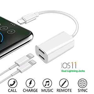 Dual Lightning Adapter for iPhone 7/7 Plus, iPhone 8/8 Plus, iPhone X, Assrid 2 in 1 iPhone 8 Adapter Splitter Cable Audio & Charge Port Converter support for Music, Charge and Call(Support iOS 11)