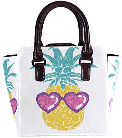 Sac à main avec poignée supérieure - Sac à main pour femme - En cuir - Avec motif d'ananas et de lunettes - Sac à main