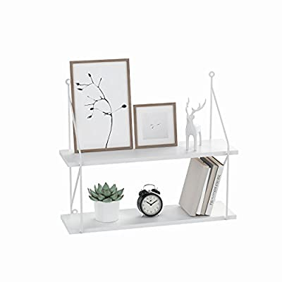 Cosway 2-Tiers Wall Mounted Floating Shelf for Pictures and Books Modern Home Decorative - ✿Perfect choice for Pantry Living Room Bedroom Kitchen Entryway ✿Adding additional shelving space for books, collectibles, plants, crafts, photos and more ✿Simple and heavy duty organizing shelves with ample storage - wall-shelves, living-room-furniture, living-room - 41Y9osIUJiL. SS400  -