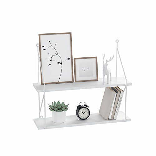 3 Tier Floating Shelves Wall Mounted Display Shelf, Wood Rustic Floating Book Shelves for Living Room Bedroom Kitchen Home - White/Black (White-2)