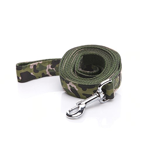 TAIDA Heavy Duty Dog Leash, 6 Feet Long, 1 Inch Wide, Nylon Camouflage Dog Leash for Small and Medium Dogs(Green)