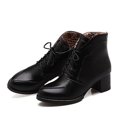 Closed PU Solid Top Round Black Boots Heels Low AgooLar Women's Toe Kitten ES7Fzq