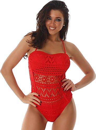PF-Fashion del bikini bandeau portador del traje de baño traje de baño halter cuello superior softcups Rojo