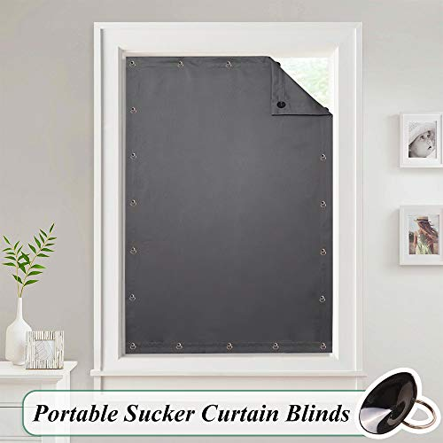 StangH Portable Blackout Curtain Blind - Adjustable Thermal Insulated Shade Drape with Suckers for Bedroom/Kitchen/Roof Window, Grey, W 51 x L 78-inch, One Panel