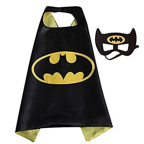 Superhero Capes,XCT Halloween Party Children Cosplay Comics Cartoon Dress Up Costume Satin Cape with Felt Mask (Batman)