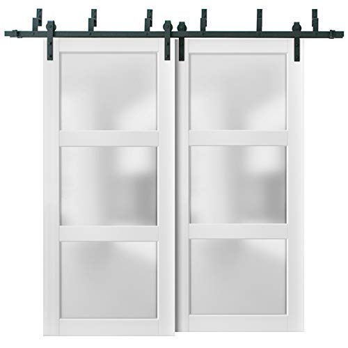 Sliding Closet Frosted Glass 3 Lites Barn Bypass Doors 64 x 96 inches | Lucia 2552 Matte White | Sturdy Top Mount 6.6ft…