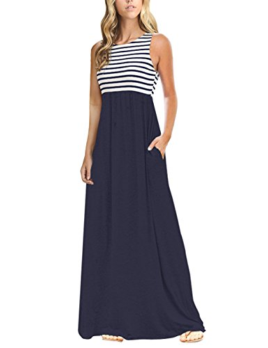 MEROKEETY Women's Summer Striped Sleeveless Crew Neck Long Maxi Dress Dress with Pockets Navy -