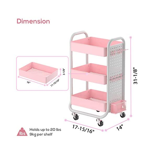 Eureka Ergonomic 3 Tier Rolling Cart Metal Utility Cart Lockable With Removable Hooks Storage Bins Craft Art Carts For Home Office School Pink Gaming Desk
