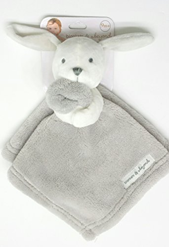 Blankets and Beyond White Bunny With Grey Blanket Nunu Baby Security Blanket