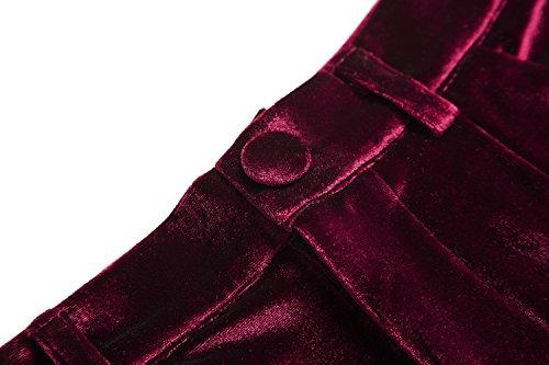 Mujeres Elegante Pantalones de Terciopelo Modernos Palazzo Anchos Pierna Pantalones Vino rojo