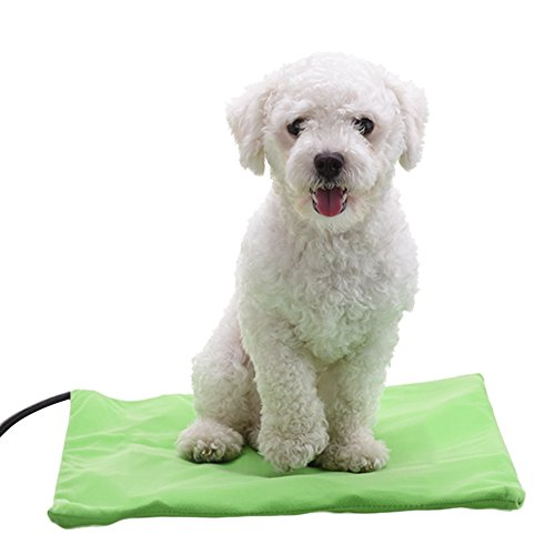 Samber Pet Heating Pad Dog Cat Electric Heated Mat Waterproof Adjustable Temperature Warming Mat for Pets Bed Warmer with Chew Resistant Cord/Green by Samber