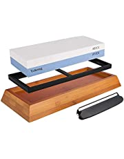 Yohong Slipsten Set 1000-6000 för professionell 2-i-1 dubbelsidig knivslipare vattensten, med halkfri basskärare vässare och vinkelguide