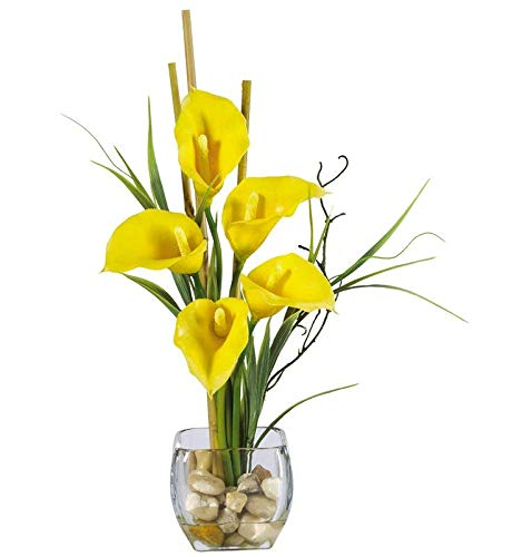 Charlton Home Liquid Illusion Silk Yellow Calla Lily Flowers in Glass Vase ()