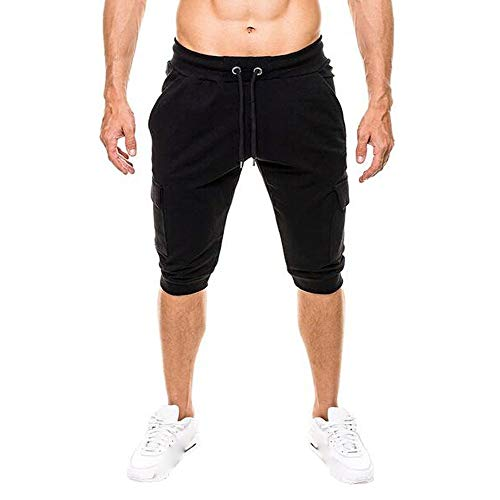Pants For Men, Clearance Sale! Pervobs Mens Casual Elastic Waist Solid Slim-Fit Style Pockets Pants Sport Shorts Pant(XL, Black) by Pervons Mens Pant