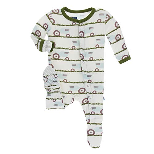 Kickee Pants Little Boys Print Footie with Snaps - Natural Tractor and Grass, 9-12 Months