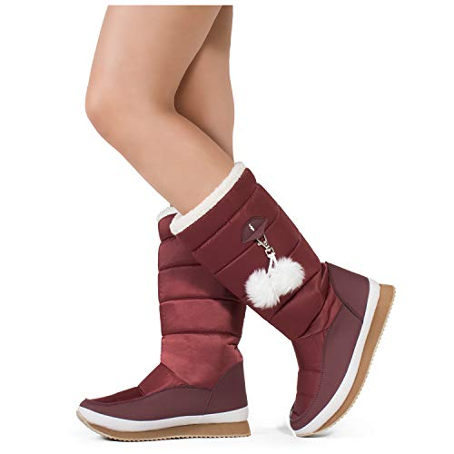 RF ROOM OF FASHION Women's Waterproof Warm Fur Lined Cold Weather Snow Rain Boots Wine Nylon - E01 SIZE10