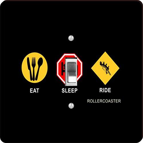 Rikki Knight RK-LSPS-9060 Eat Sleep Rollercoaster Design Light Switch Plate Cover by Rikki Knight