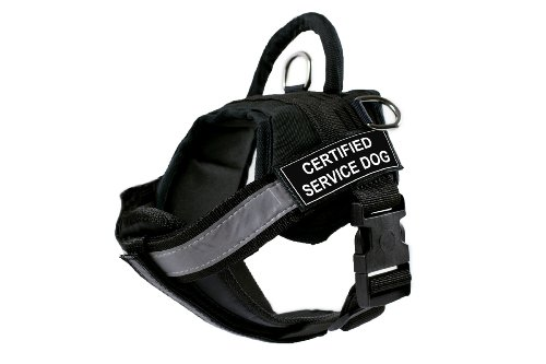 DT Works Harness with Padded Reflective Chest Straps, Certified Service Dog, Black, X-Small, Fits Girth Size: 21-Inch to 26-Inch by Dean & Tyler