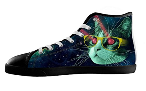 Pop Creation Kvinners Plass Katt Høy Topp Lerret Sko Spacecat Lerret Shoes10