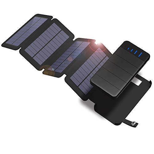 Solar Charger, X-DRAGON 10000mAh Portable Charger with Four Foldable Solar Panels Power Bank Portable Rugged Shockproof Dual USB Solar Battery Charger for iPhone, Samsung Galaxy ipad and More-Black