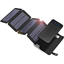Solar Charger, X-DRAGON 10000mAh Detachable Solar Power Bank with 4 Solar Panels Dual USB Port Waterproof Foldable Portable Battery Pack with LED light for iPhone, ipad, Samsung, Outdoor Camping
