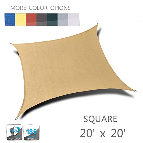 Love Story 20' x 20' Sand Square UV Block Sun Shade Sail Awning Perfect for Outdoor Lawn Patio ()