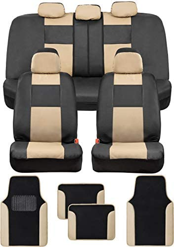 BDK Croc Skin Faux Leather Car Seat Covers Full Set with Carpet Car Floor Mats – Front and Rear Bench Seat Covers with Carpet Floor Liners, Car Accessories Gift Set Bundle (Beige)