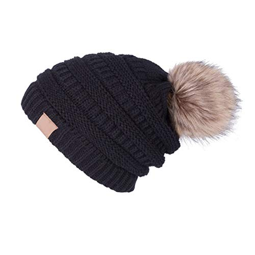 YJWAN Women Winter Pom Pom Beanie Hat Warm Fleece Lining Knit Faux Fur Slouchy Ski Cap Black