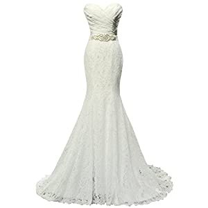 SOLOVEDRESS Women's Beaded Pleat Lace Wedding Dress Mermaid Bridal Gown with Sash