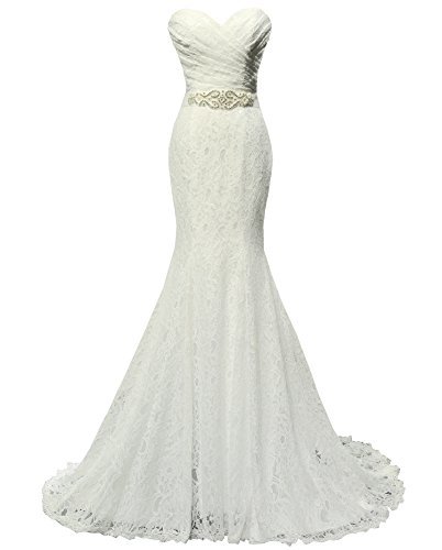 SOLOVEDRESS Women's Lace Wedding Dress Mermaid Evening Dress Bridal Gown with Sash (US 12, - Exquisite Fit Corset