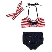 3pcs Toddler Baby Girls Swimwear Cute Straps Bikini Set Swimsuit Beachwear Outfits (Red, 12-18 Months)