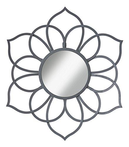 Kate and Laurel 208383 Brienne Metal Flower Round Wall Accent Mirror, Gray (Wall Art Decor Mirrors)