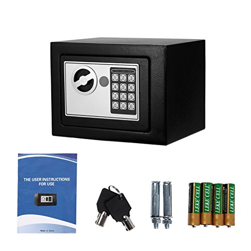 Digital Electronic Safe Security Box Fireproof Wall-Anchoring Safe Deposit Box for Money Jewelry Cash Batteries - US Stock (Black) by Flyerstoy (Image #6)