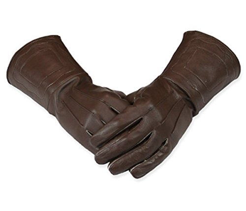 (Historical Emporium Men's Victorian Driving/Cosplay Leather Gauntlets S Brown)
