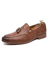 Alaec Calzado Casual de Caballero para Hombres de Negocios Zapatos para Caminar Mocasines Tejido de Verano Vamp con borlas Zapatos de conducción de Cuero Zapatos