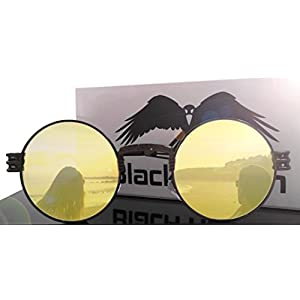 Black Raven 2018 Sunglasses Steampunk Vintage Retro Mirrored Reflective Metal