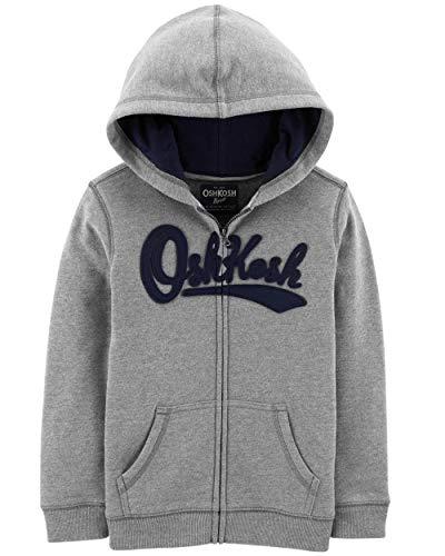 (OshKosh B'Gosh Boys' Kids Full Zip Logo Hoodie, Grey, 8)