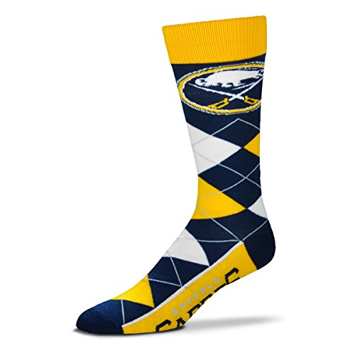 For Bare Feet NHL Argyle Lineup Unisex Crew Dress Socks-One Size Fits Most-Buffalo Sabres