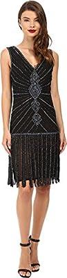 Unique Vintage Womens Deco Beaded Aelita Flapper Dress