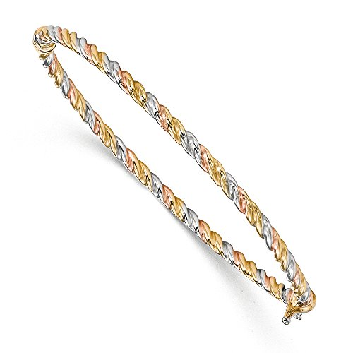 3mm 14k Tri-Color Gold Twisted Hinged Bangle Bracelet - 14k Tri Color Gold Bangle