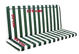 Cojín para balancín de 4plazas 175cm blanco-verde