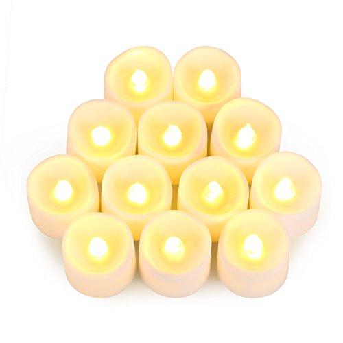 12 LED Kerze, Amir® Flammenlose Kerzen Teelichter LED-Kerzen, flackernde Kerze Teelichter, elektrische LED-Kerze-Birnen-Lampen-Wärmer für Halloween, Party, Bar, Hochzeit, Weihnachten, Abendessen (Flicker-Yellow)